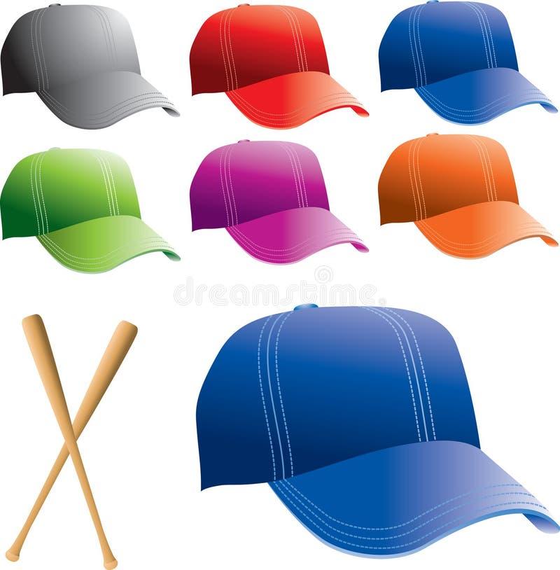 Mehrfache farbige Baseballhüte lizenzfreie abbildung