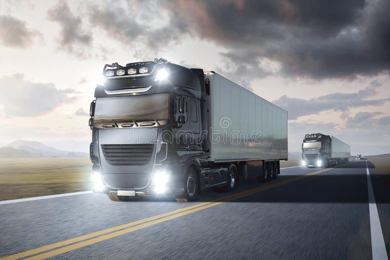 Mehrfache LKWs mit dem Anhänger, der auf eine Fernlandstraße durch eine Landschaft an der Dämmerung fährt vektor abbildung