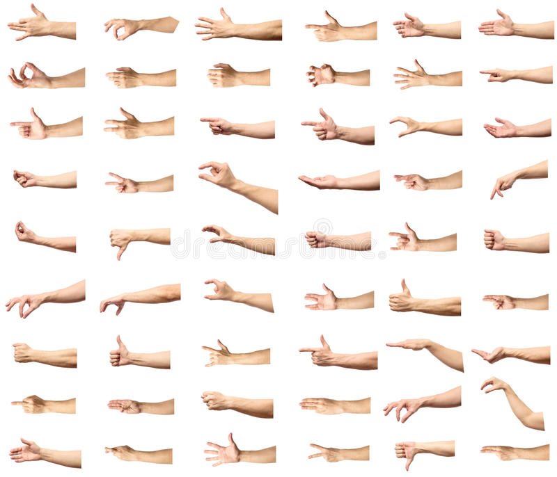 Mehrfache männliche kaukasische Handzeichen lokalisiert über dem weißen Ba lizenzfreies stockbild