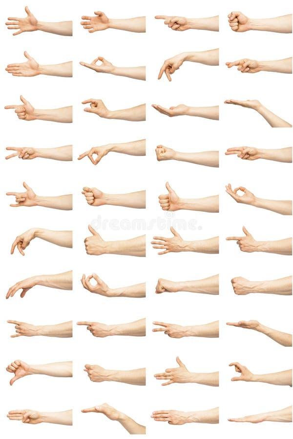 Mehrfache männliche kaukasische Handzeichen lokalisiert über dem weißen Hintergrund lizenzfreie stockfotografie