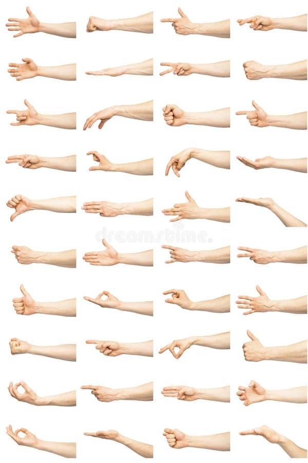 Mehrfache männliche kaukasische Handzeichen lokalisiert über dem weißen Hintergrund stockfotos