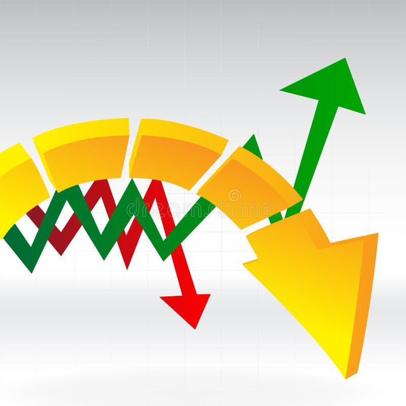 Mehrfache Pfeile im Diagramm stockfotos