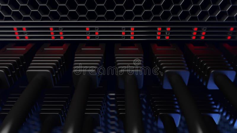Mehrfache Serverdrähte, rote Lichter und Verbindungsstücke, Abschluss oben, cgi stockfoto