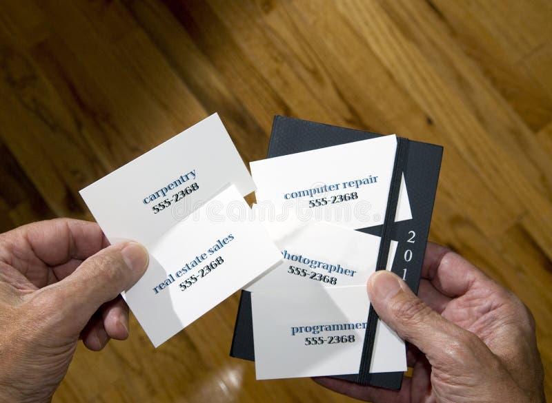 Mehrfache Visitenkarten mit unterschiedlichen Berufen lizenzfreie stockfotos