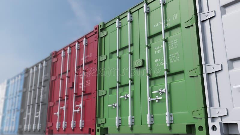 Mehrfachverbindungsstelle färbte Frachtbehälter gegen blauen Himmel, flacher Fokus Wiedergabe 3d stockfotografie