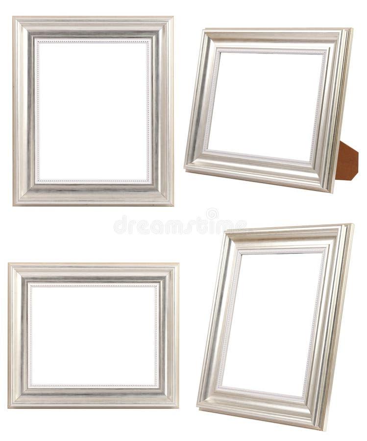 Mehrfachverbindungsstelle von den silbernen Foto-Rahmen LOKALISIERT auf weißem Hintergrund stockfotos