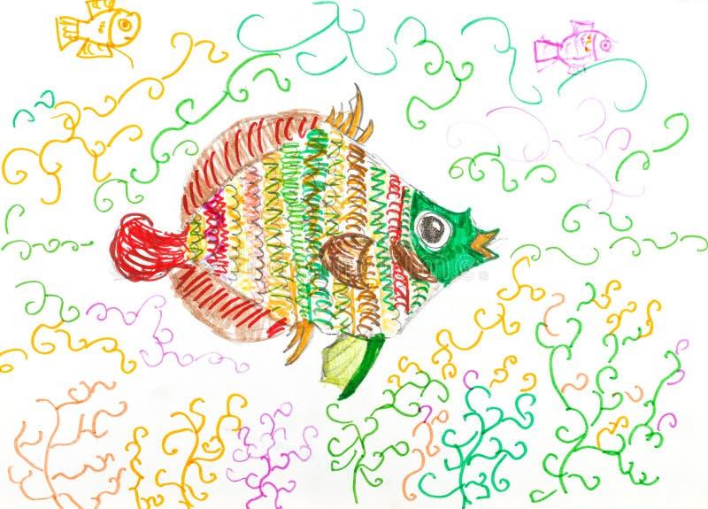 Mehrfarbenfischfische zwischen Algen lizenzfreie abbildung