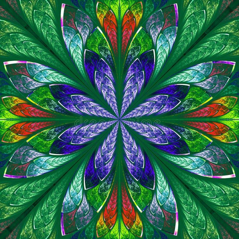 Mehrfarbenfractal in der Buntglasfensterart lizenzfreie abbildung