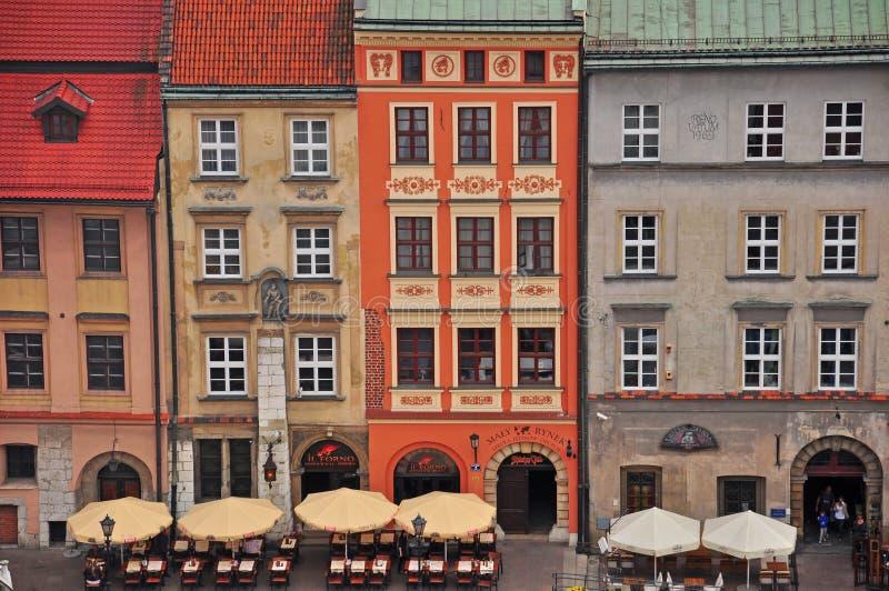 Mehrfarbenhäuser in Krakau lizenzfreie stockfotos