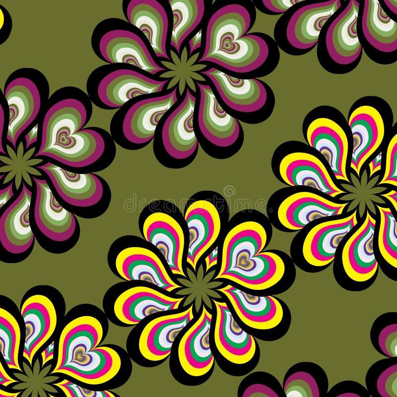 Mehrfarbenmuster der nahtlosen Blumensechzigerart-Weinlese lizenzfreie abbildung