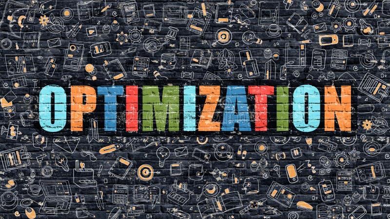 Mehrfarbenoptimierung auf dunklem Brickwall Kritzeln Sie Art stock abbildung