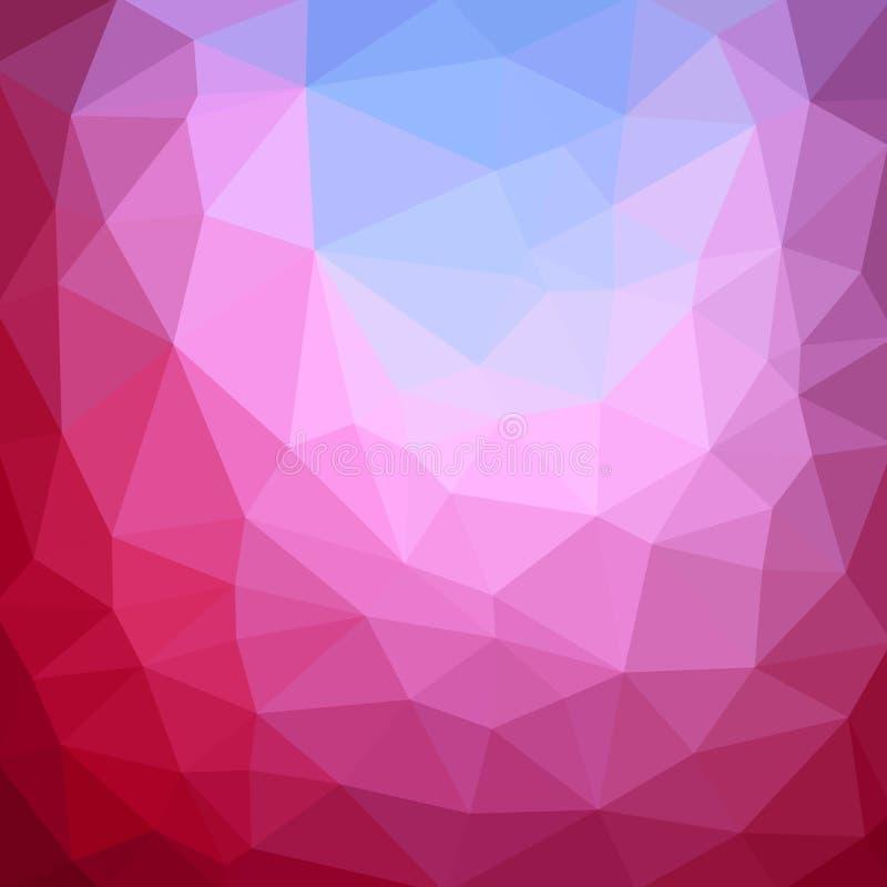 Mehrfarbenpurpur, rosa polygonale Illustration, die aus Dreiecken bestehen Geometrischer Hintergrund in der Origamiart mit Steigu lizenzfreie abbildung