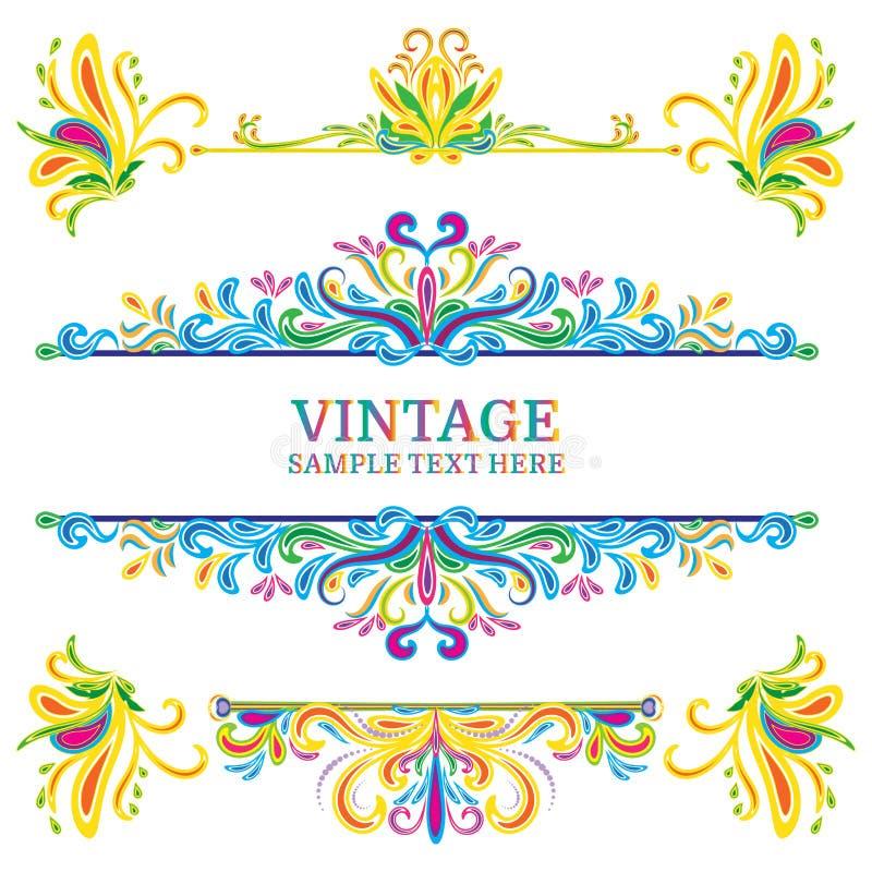 Mehrfarbenvektor-Dekorations-Element-Weinlese-Art stock abbildung