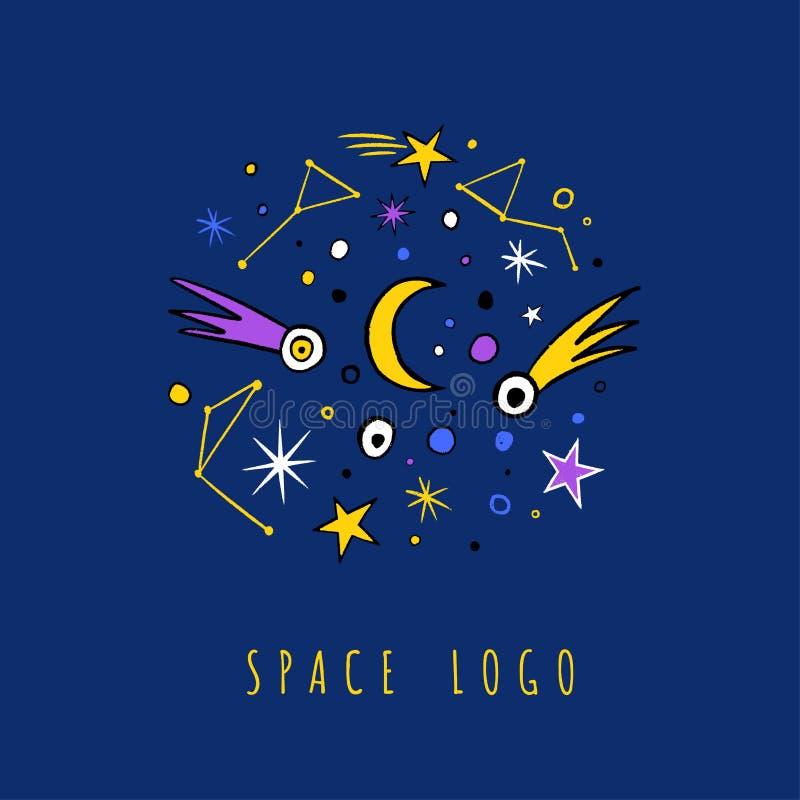 Mehrfarbenvektorgekritzelsatz Sterne, Kometen, Tierkreis lizenzfreie abbildung