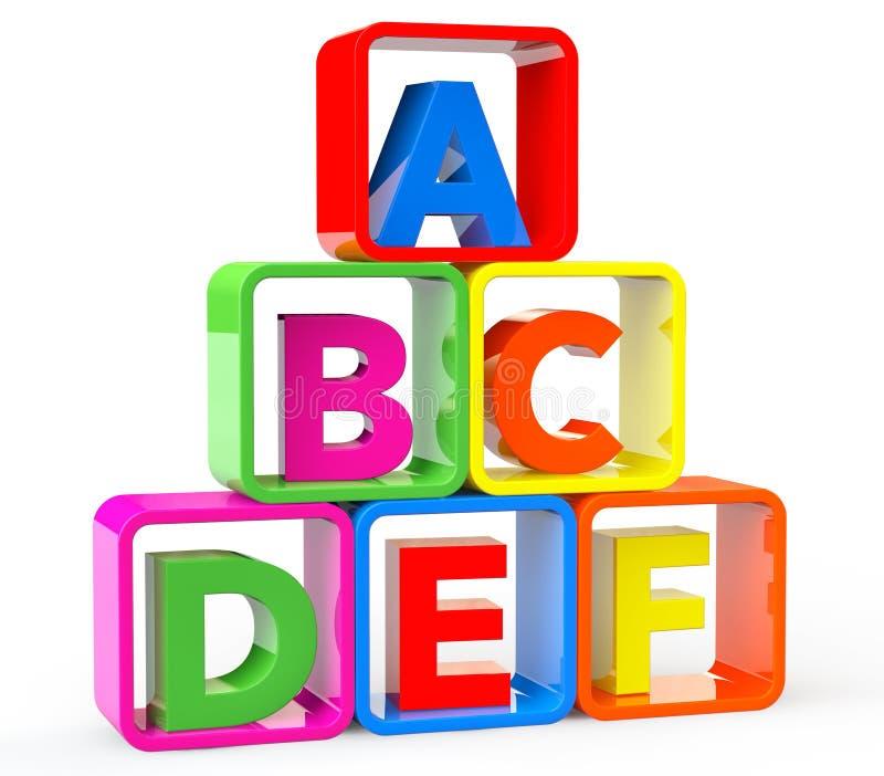 Mehrfarbenwürfel als Stand mit ABC-Buchstaben lizenzfreie abbildung