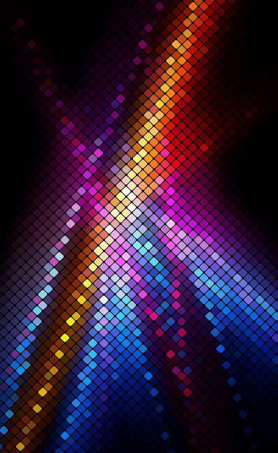 Mehrfarbenzusammenfassung beleuchtet Hintergrundpixel-Mosaik vecto vektor abbildung