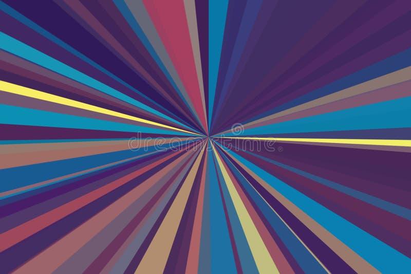 Mehrfarbenzusammenfassung strahlt Hintergrund aus Buntes Streifenstrahlnmuster Moderne Tendenzfarben der stilvollen Illustration stock abbildung
