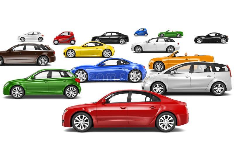Mehrfarbige Autos alle, die linke Richtung gegenüberstellen stock abbildung