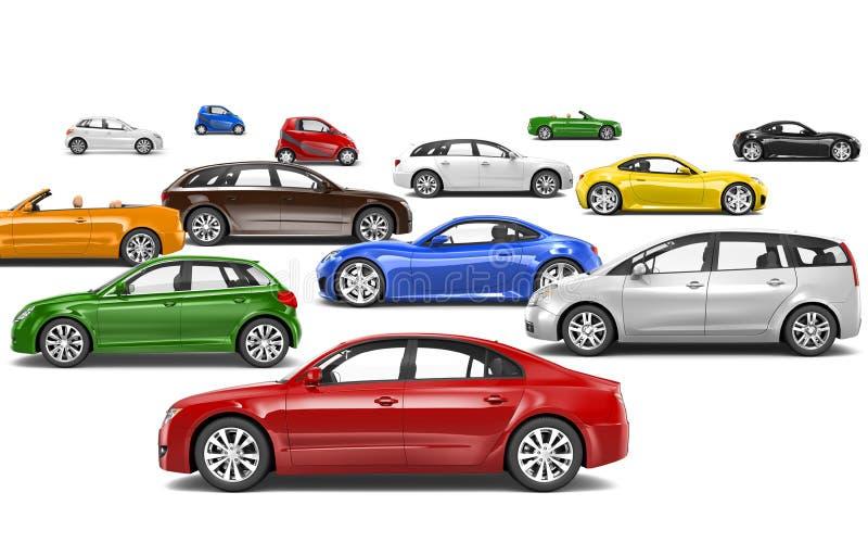 Mehrfarbige Autos 3D geparkt auf verschiedenen Richtungen stockfoto