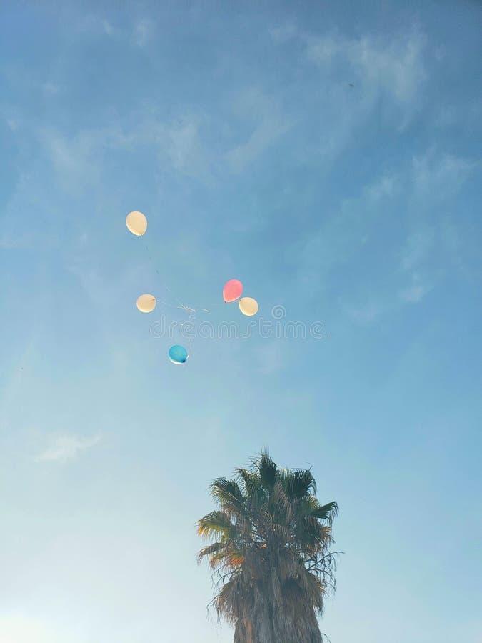 mehrfarbige Ballone, die auf den blauen Himmel, perris, Kalifornien schwimmen lizenzfreie stockbilder