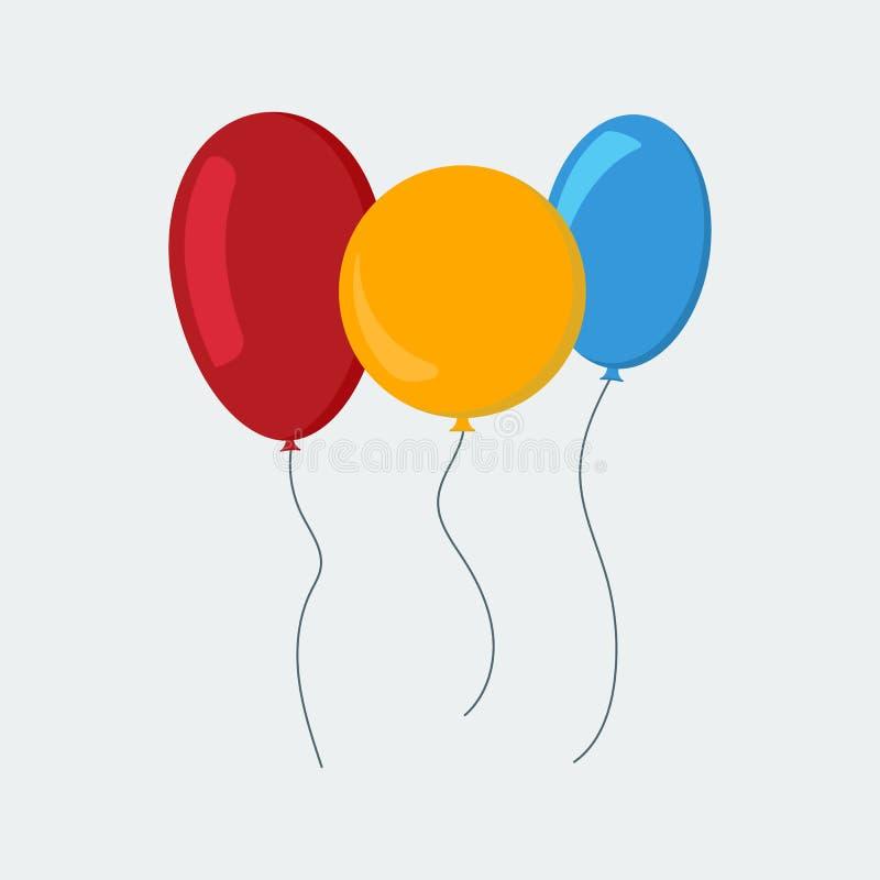 Mehrfarbige Ballone in einer flachen Art lokalisiert auf weißem Hintergrund vektor abbildung