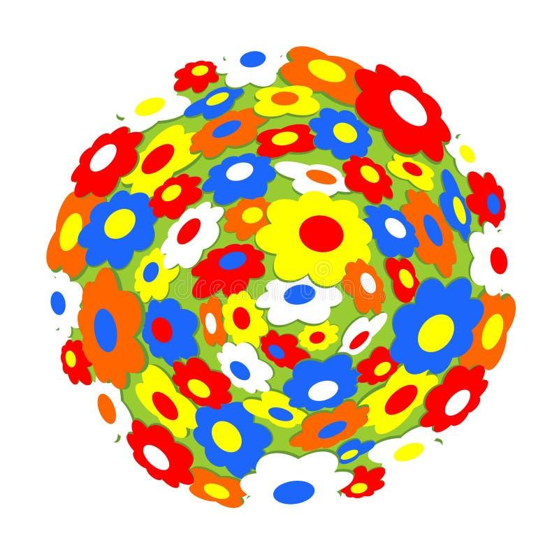 Mehrfarbige Blumen auf Kugel vektor abbildung