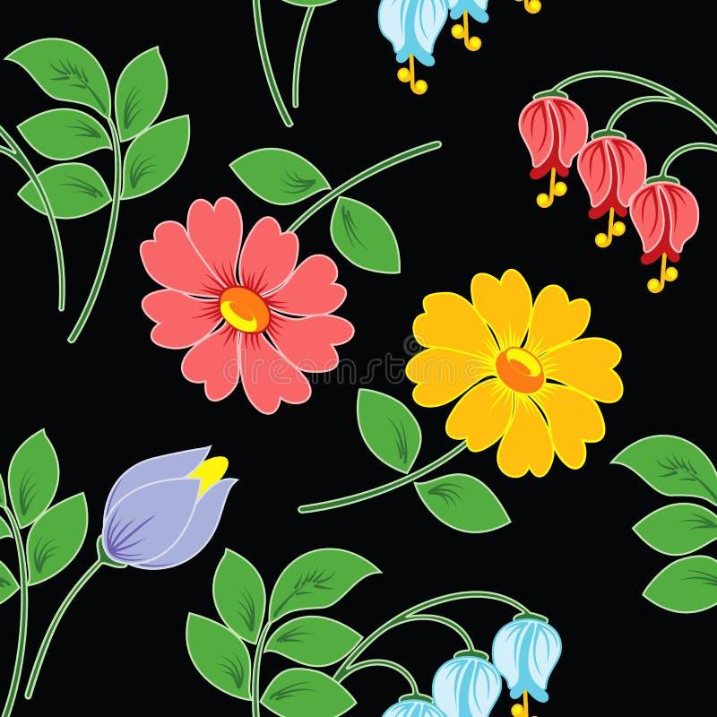 Mehrfarbige Blumen auf schwarzem Hintergrund. lizenzfreie abbildung