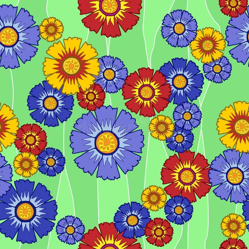 Mehrfarbige Blumen des nahtlosen Musters lizenzfreies stockfoto