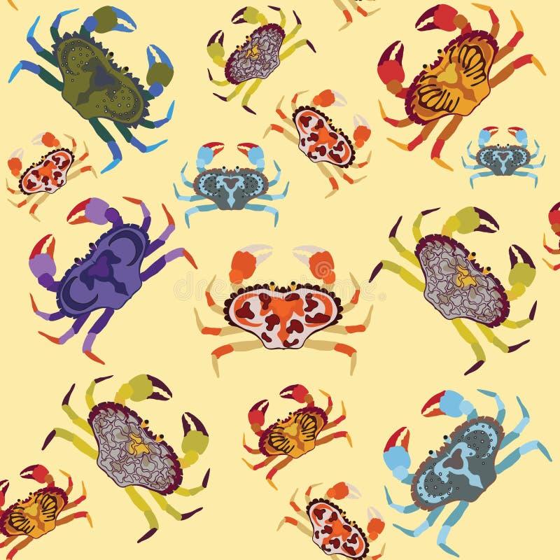 Mehrfarbige bunte verschiedene Arten der Krabbe auf hellem PA des Sandes lizenzfreie abbildung