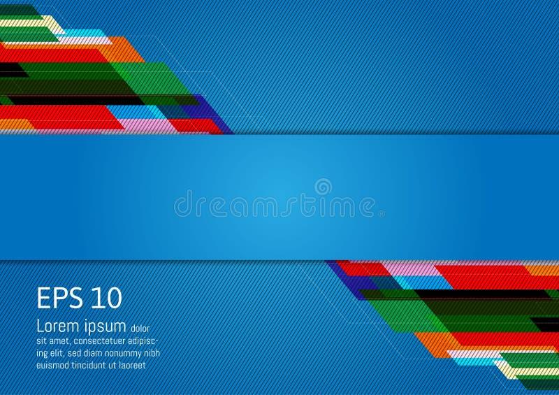 Mehrfarbige geometrische Zusammenfassung des modernen Designs auf blauem Hintergrund mit Kopienraum, Vektor-Illustration stock abbildung