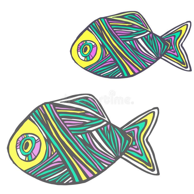 mehrfarbige gestreifte Fische lizenzfreie abbildung