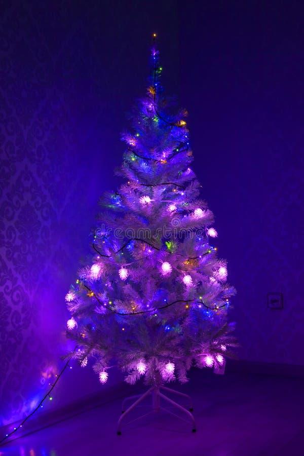 Mehrfarbige Girlande auf einem Weihnachtsbaum leuchtend mit magischem kleinem dekorativem Glasbaum mit Beleuchtung in der Dunkelh lizenzfreie stockbilder