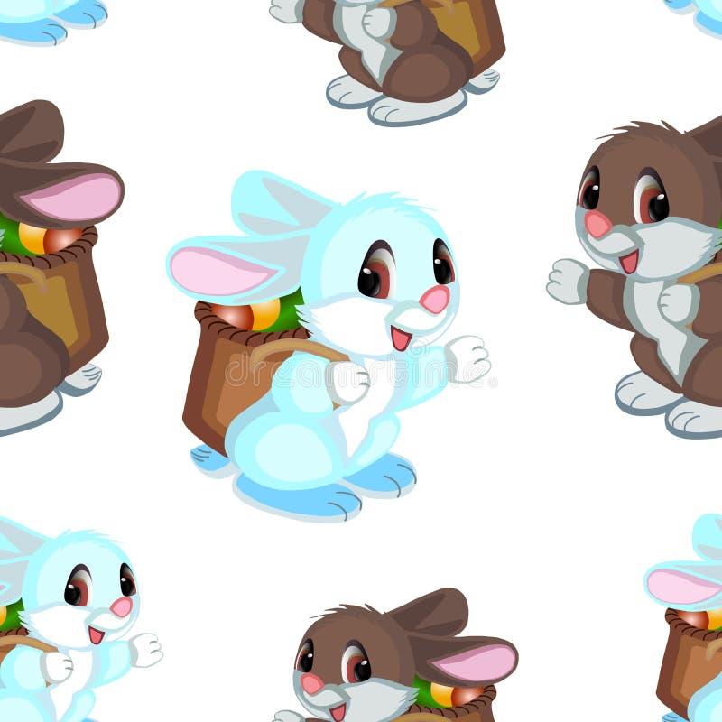 Mehrfarbige Hasen in einem Muster auf einem weißen Hintergrund stockbild