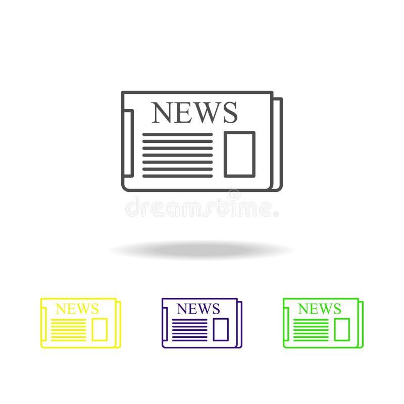 Mehrfarbige Ikonen der Zeitung Element von Journalismus für bewegliche Konzept und Netz Appsillustration Kann für Netz, Logo verw lizenzfreie abbildung