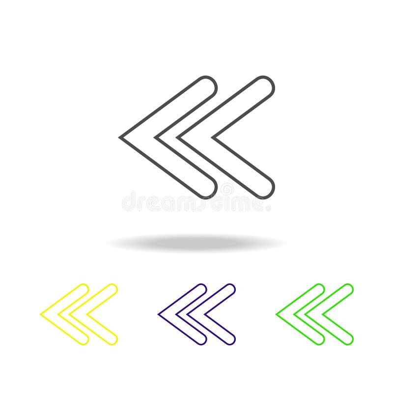 mehrfarbige Ikonen des doppelten Pfeiles Dünne Linie Ikone für Websiteentwurf und Appentwicklung Erstklassige farbige Netzikone m stock abbildung