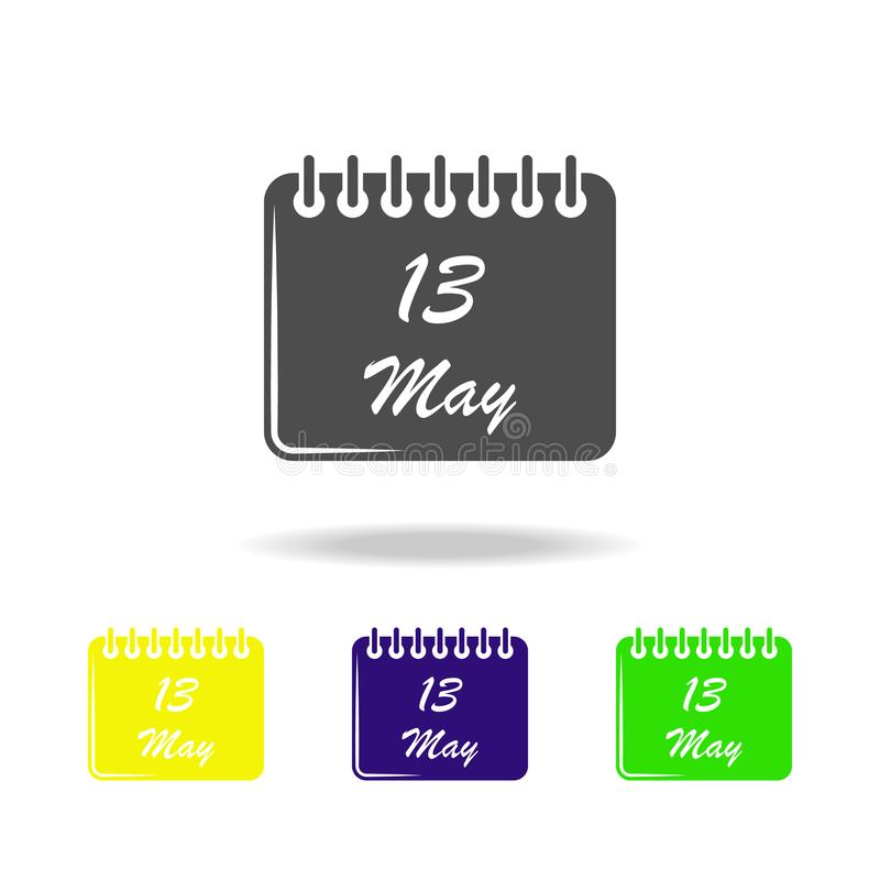 mehrfarbige Ikonen des Kalenders am 13. Mai Element der Muttertagesikone Zeichen und Symbolsammlungsikone für Website, Webdesign, lizenzfreie abbildung