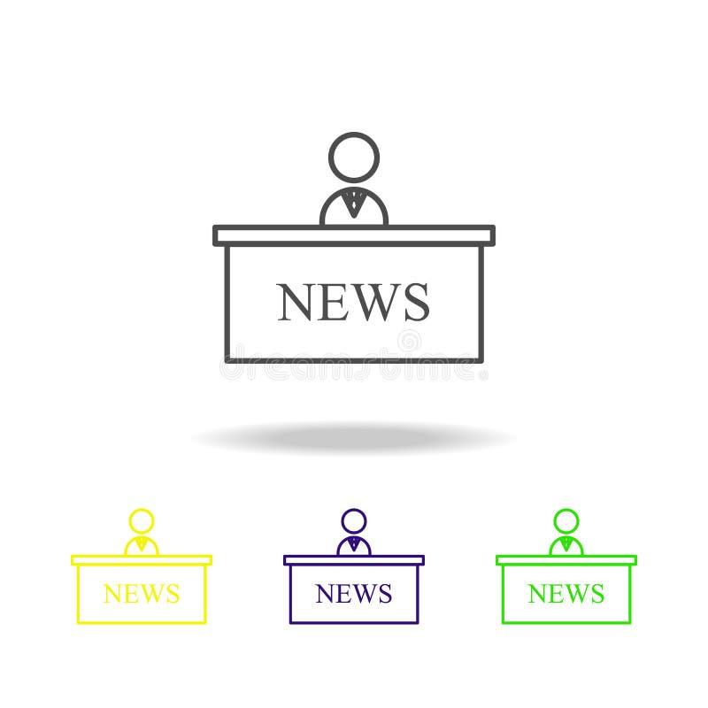 mehrfarbige Ikonen des Nachrichtenvorführers Element von Journalismus für bewegliche Konzept und Netz Appsillustration Kann für N lizenzfreie abbildung