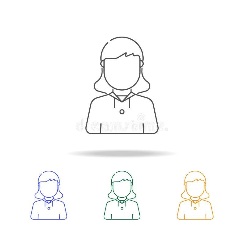 Mehrfarbige Ikonen des Pfadfindermädchen-Avataras Element des Berufavataras für beweglicher Konzept und Netz apps Dünne Linie Iko vektor abbildung
