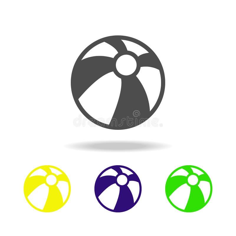 mehrfarbige Ikonen des Wasserballs Element von mehrfarbigen Ikonen der Strandurlaube kann für Netz, Logo, mobiler App, UI, UX ben lizenzfreie abbildung