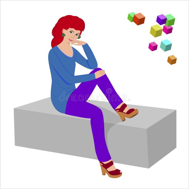 Mehrfarbige Illustration in der flachen Art lizenzfreies stockbild