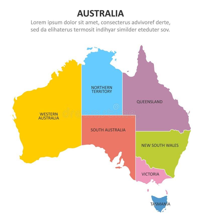 Mehrfarbige Karte Australiens mit Regionen Auch im corel abgehobenen Betrag stock abbildung