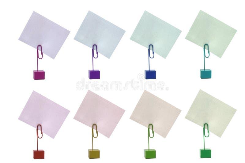 Mehrfarbige Kartenhalter stockfotografie