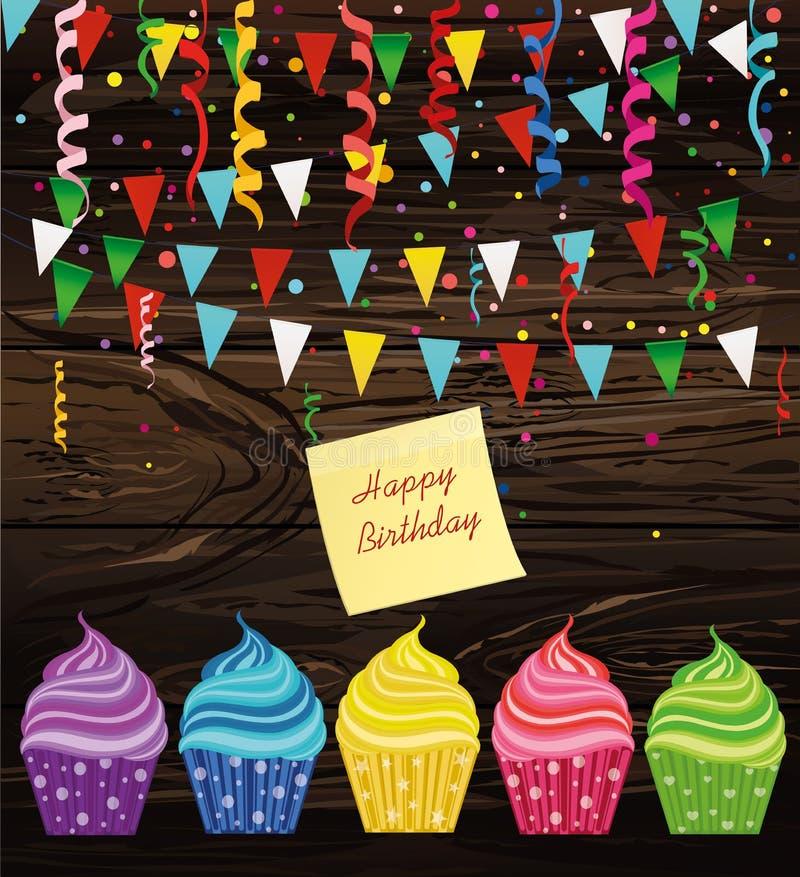 Mehrfarbige kleine Kuchen mit Buchstaben und Wörtern mit einem Geburtstag Emp stock abbildung