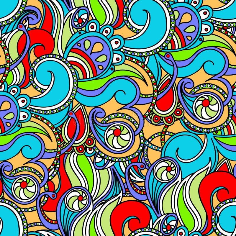 Mehrfarbige nahtlose mit Blumenbeschaffenheit, Wellen Eleganzhintergrund stock abbildung