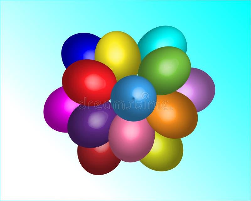 Mehrfarbige Ostern-Bälle im Himmel vektor abbildung