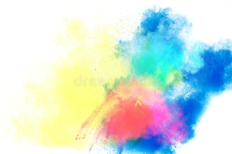 Mehrfarbige Pulverexplosion auf weißem Hintergrund Farbige Wolke lizenzfreies stockfoto