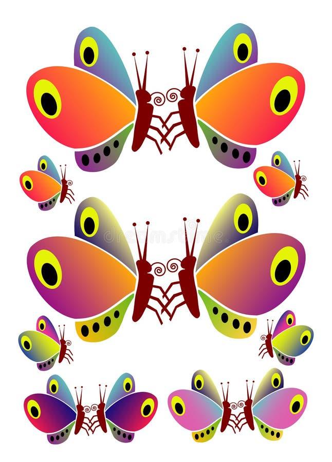 Mehrfarbige Schmetterlinge stockbild