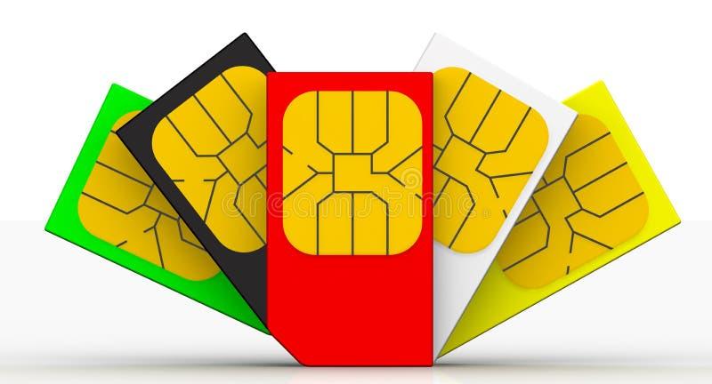 Mehrfarbige SIM-Karten lizenzfreie abbildung