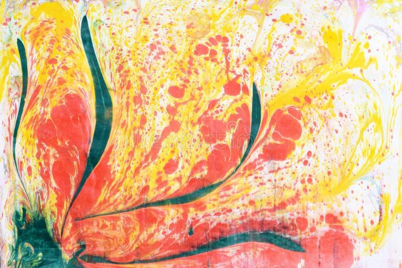 Mehrfarbige Stellen, spritzt von der Farbe auf Papier, stockfotos