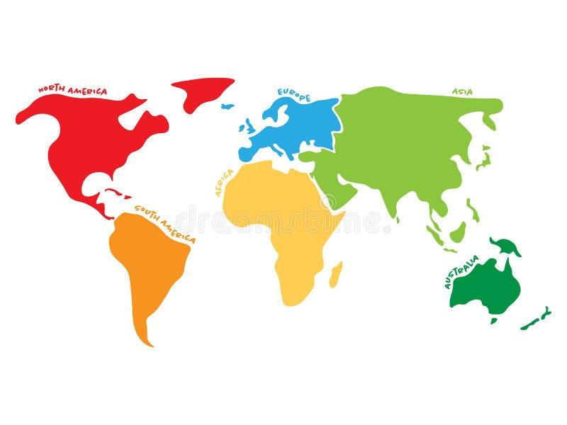 Mehrfarbige Weltkarte geteilt zu sechs Kontinenten in den verschiedenen Farben - Nordamerika, Südamerika, Afrika, Europa lizenzfreie abbildung